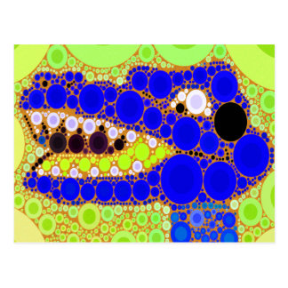 Fun Blue Alligator Crocodile Retro Circles Mosaic Postcard