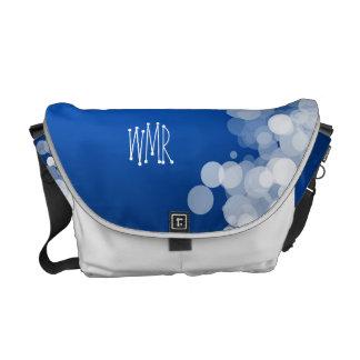 Fun Blue and White Bubbles, Monogram Tote Messenger Bag
