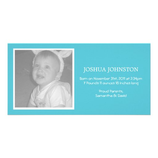 Fun Blue Baby Announcements Photo Cards