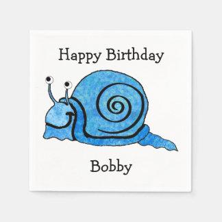 Fun blue Cartoon Birthday Smiling Snail Paper Napkins