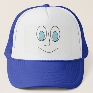 Fun Blue Eyed Smiley Man's Face Design Hat