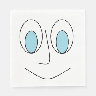Fun Blue Eyed Smiling Stick Man's Face Design Disposable Serviettes