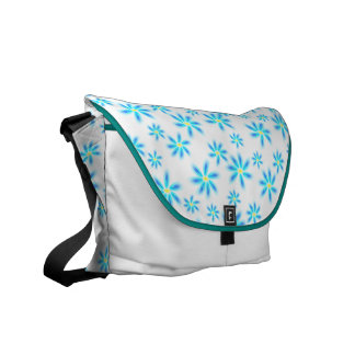 Fun Blue Floral Messenger Bag