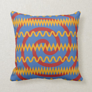 Fun Blue Orange Swirls and Chevron Zigzags Pattern Throw Pillow