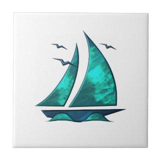 Fun Blue Sailboat Tile