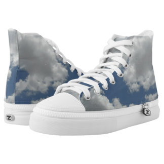 Fun Blue Sky White Clouds Print High Tops