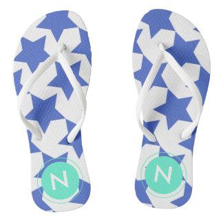 Fun Blue Stars Pattern Monogrammed Flip flops