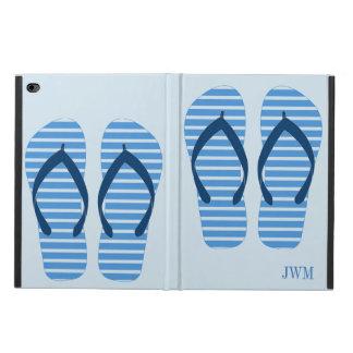 Fun Blue Stripe Flip Flops Summer Beach Monogram