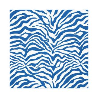 Fun Blue Zebra Stripes Wild Animal Print Gallery Wrap Canvas