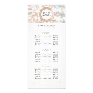 Fun Bokeh and Rose Gold Salon Price List Menu 2
