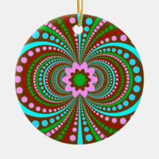 Fun Bold Pattern Brown Pink Teal Crazy Design Ceramic Ornament