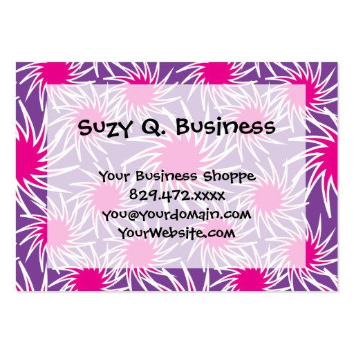 Fun Bold Spiraling Wheels Hot Pink Purple Pattern Business Card Template