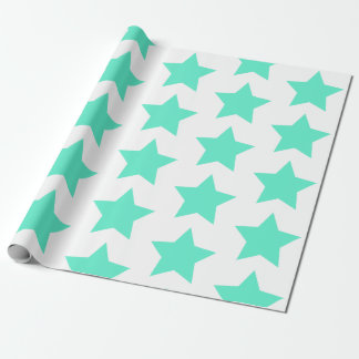 Fun, Bold Teal Stars Pattern Wrapping Paper