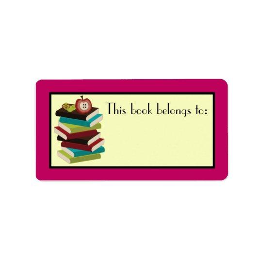 Fun Book Stack Reader Bookplate Stickers Gift Address Label