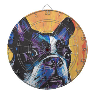 Fun Boston Terrier bright colorful Pop Art Dartboard
