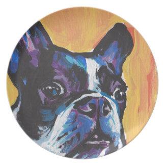 Fun Boston Terrier bright colorful Pop Art Dinner Plate