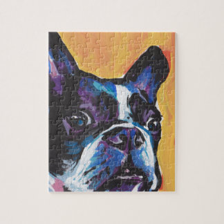 Fun Boston Terrier bright colorful Pop Art Jigsaw Puzzle