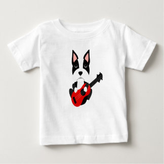 Fun Boston Terrier Dog Playing Guitar Baby T-Shirt