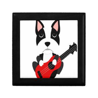 Fun Boston Terrier Dog Playing Guitar Gift Box