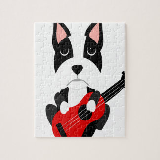 Fun Boston Terrier Dog Playing Guitar Jigsaw Puzzle