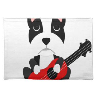 Fun Boston Terrier Dog Playing Guitar Placemat