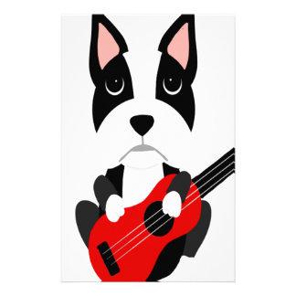 Fun Boston Terrier Dog Playing Guitar Stationery