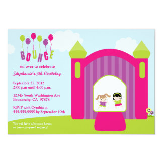 Fun bounce house girls birthday party invitation