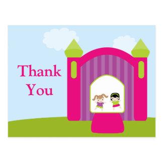 Fun bounce house girls thank you postcard