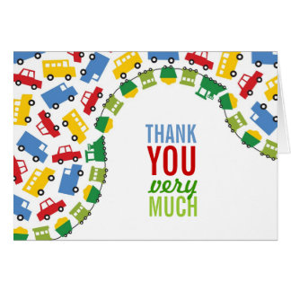 Fun Boy Toys Cars Trains Bus Trucks Thank You Card