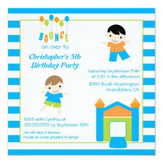 Fun boy's bounce house party birthday invitation