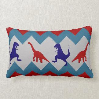 Fun Boys Dinosaurs Red Blue Chevron Pattern Lumbar Pillow