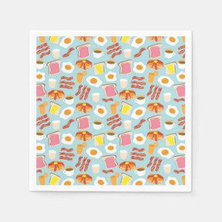 Fun Breakfast Food Illustrations Pattern Disposable Serviettes