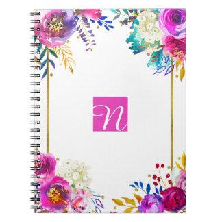 Fun Bright Bold Watercolor Floral Color Splash Notebook