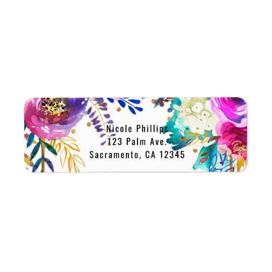 Fun Bright Bold Watercolor Floral Glam Elegant Return Address Label