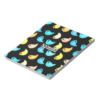 Fun bright colorful birds pattern memo notepad