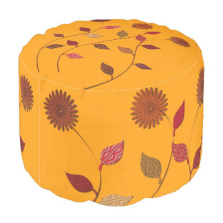 Fun Bright Fall Flowers Leaves Orange Pouf