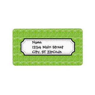 Fun Bright Green Doodle Pattern Address Label