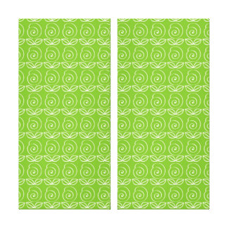 Fun Bright Green Doodle Pattern Stretched Canvas Prints