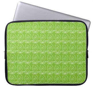 Fun Bright Green Doodle Pattern Laptop Sleeve