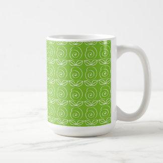 Fun Bright Green Doodle Pattern Coffee Mugs
