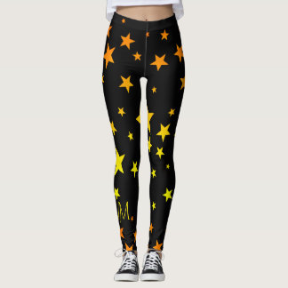 Fun Bright Orange and Yellow Star Pattern Leggings