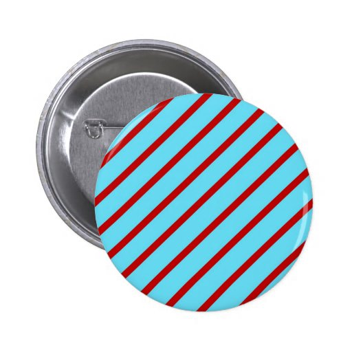 Fun Bright Teal Turquoise Red Diagonal Stripes Button