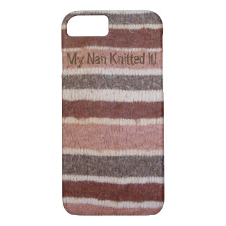 fun brown and beige stripy knitted retro design iPhone 7 case