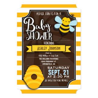 Fun, Brown & Yellow Honey Bee Baby Shower 13 Cm X 18 Cm Invitation Card