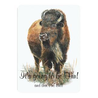 Fun Buffalo Bison Wildlife Animal Park Celebration 13 Cm X 18 Cm Invitation Card