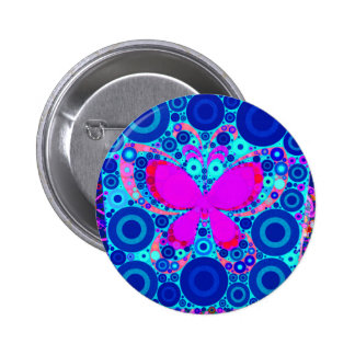 Fun Butterfly Concentric Circle Mosaic Blue Pink Pins