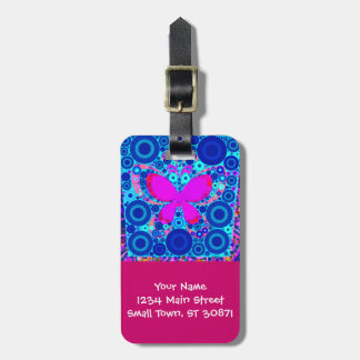 Fun Butterfly Concentric Circle Mosaic Blue Pink Luggage Tag
