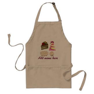 Fun cake pattern apron, add name to cake prints standard apron