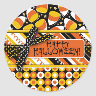 Fun Candy Corn Halloween colors Classic Round Sticker