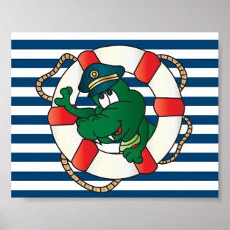 Fun Captain Alligator Poster